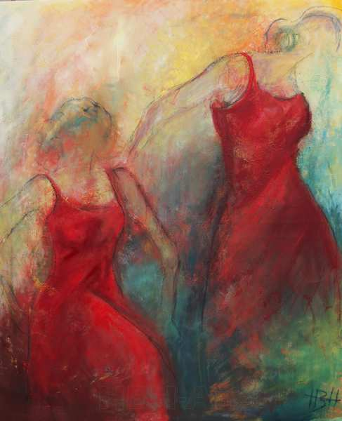 Stort maleri af to røde dansere