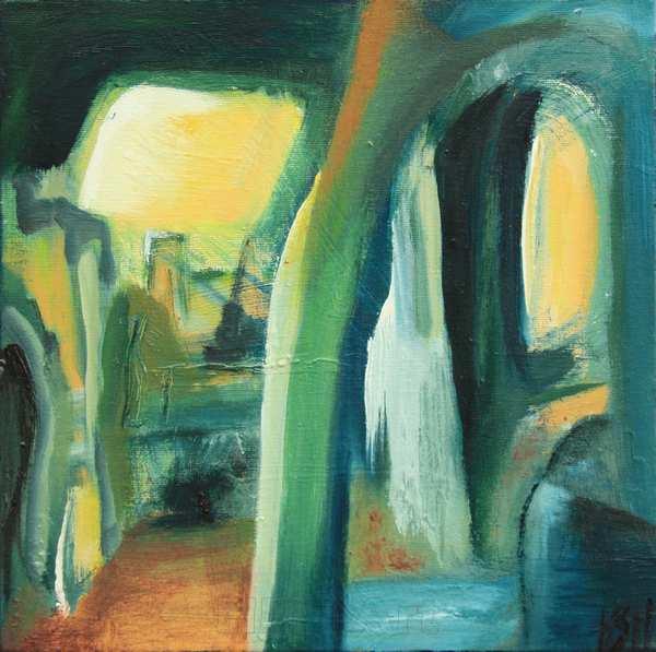 Abstrakt maleri af fantasilandskab i grønne og blå farver