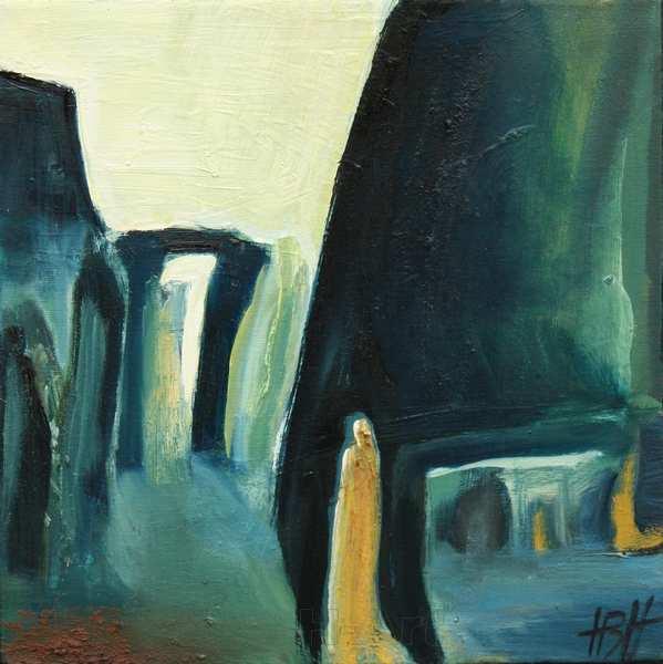 maleri af abstrakt fantasilandskab. Lyset i maleriet er det stærke kolde tidlige forårslys, der danner skarpe kontraster