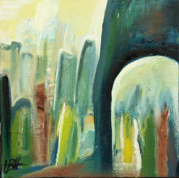 Abstrakt maleri med blå og grønne farver