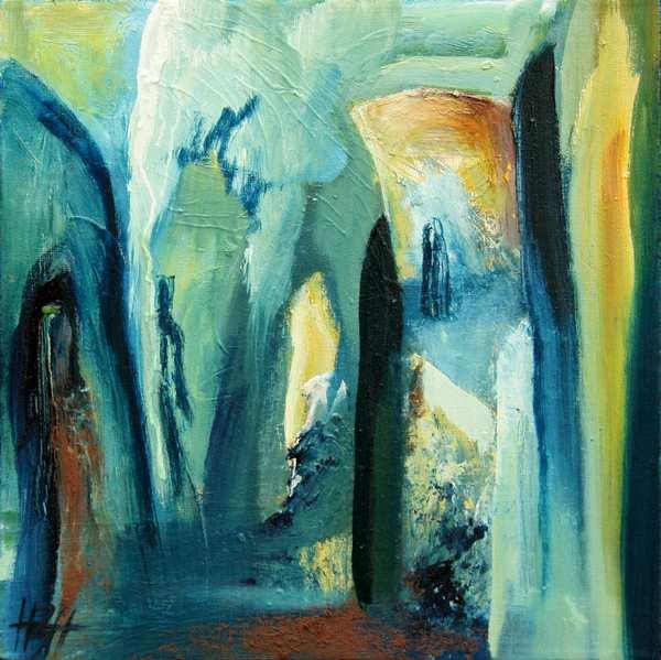 abstrakt maleri i kolde farver i blå og gule farver