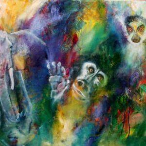 maleri af truede dyrearter. En elefant og to aber, der kigger ud på dig. Den ene abe - gorillaen - rækker hånden frem