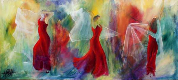 maleri af tre flamencodansere med sjal på farverig baggrund