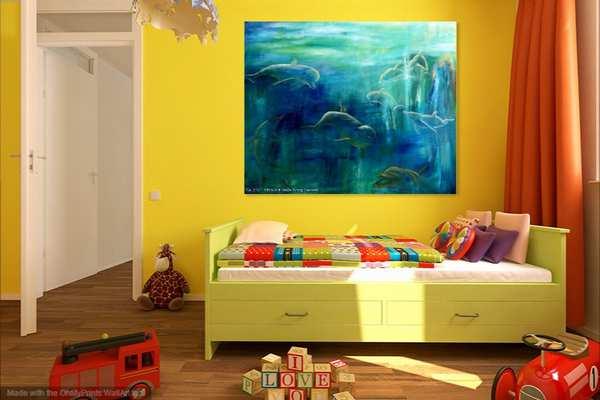 Maleri af delfiner i børneværelset over sengen