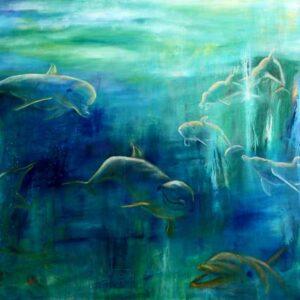 maleri af delfiner under vand i blå farver med lyset der kommer ned ovenfra