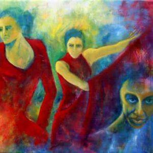 maleri af kvinder malet i olie på lærred. To flamencodansere i røde kjoler og et kvindeansigt i forgrunden