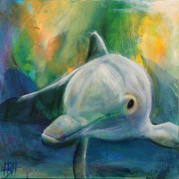 maleri af delfin under vandet og lyset kommer ind bagfra