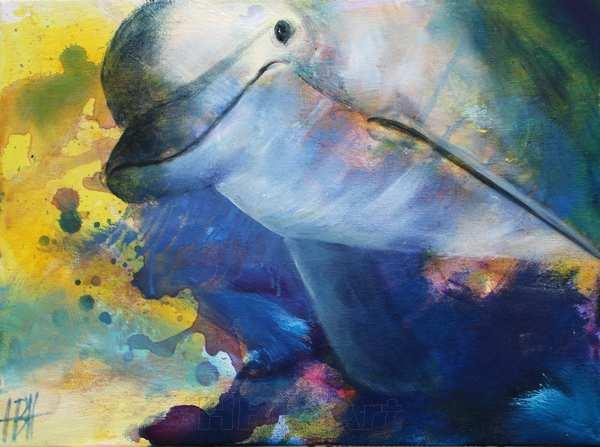delfin maleri i olie på lærred.