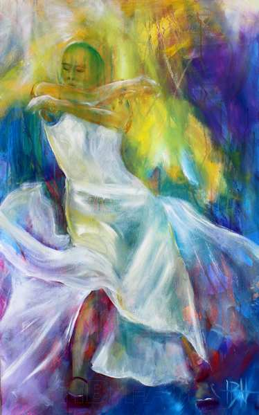 Et maleri er farvepigmenter bundet med et bindemiddel og fordelt på en malegrund. Her er det en flamencodanser i hvid kjole på en blå og gul baggrund
