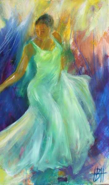 dansemaleri af danser i lys grøn kjole