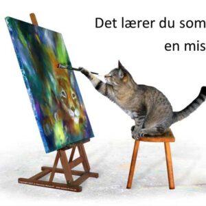 Malekursus. Katten maler et selvportræt af en los