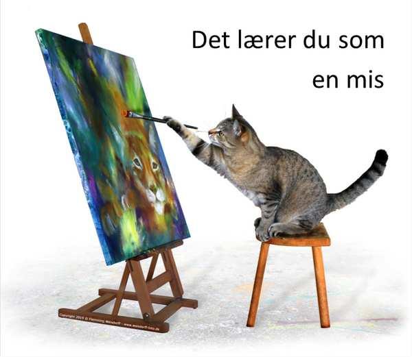 Lær at male - Malekursus. Katten maler et selvportræt af en los