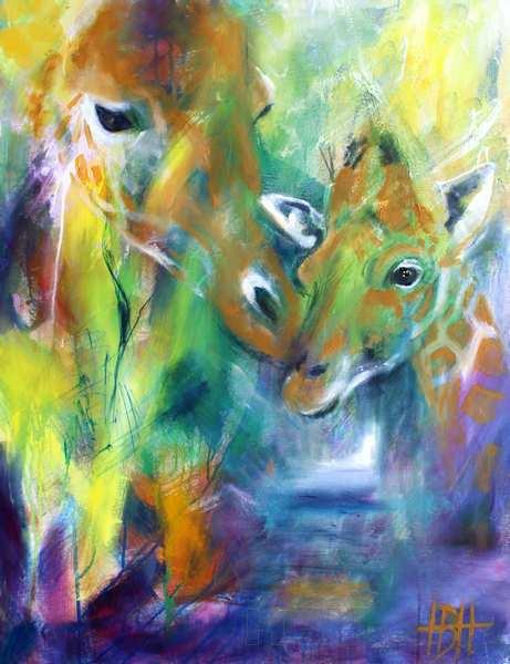 Maleri i olie af giraf med unge