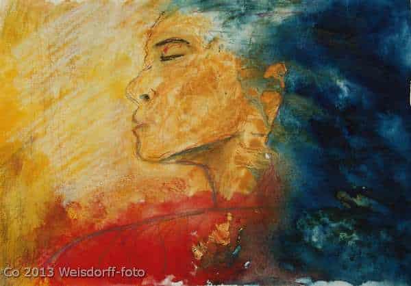 Akvarel i stærke farver af ansigt