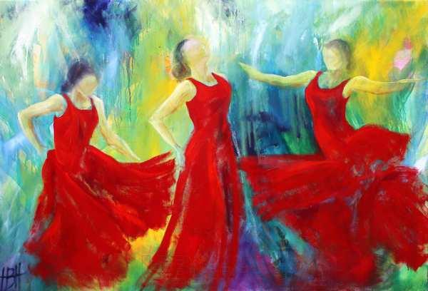 maleri af dansende kvinder i stærkt røde kjoler