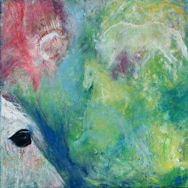 Portræt af araberhesten Duracell. Hvid hest på blå, grøn og pink baggrund