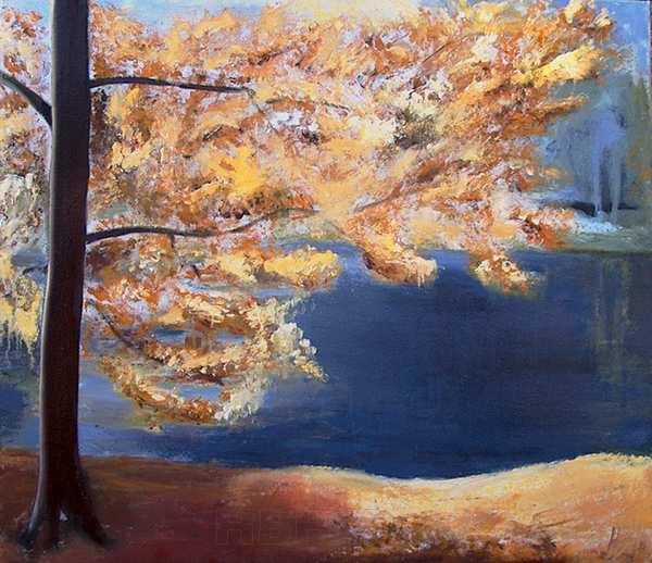 Maleri af en sø i Ganløse Ore. og et efterårdtræ. Søen har en helt speciel dybblå farve, som bare måtte males