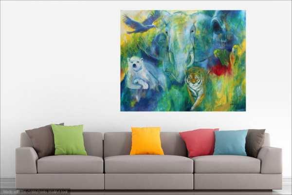 maleri over sofaen - dyremaleri