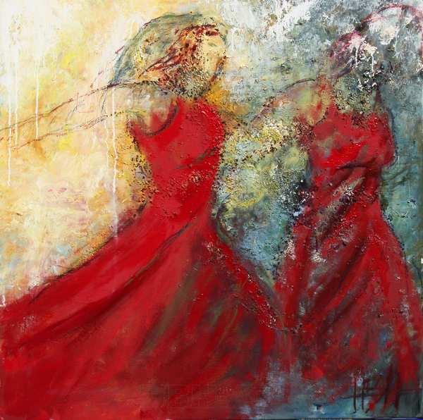maleri i røde farver o struktur af to flamencodansere