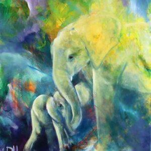 maleri af elefant og unge i blå-grønne farver