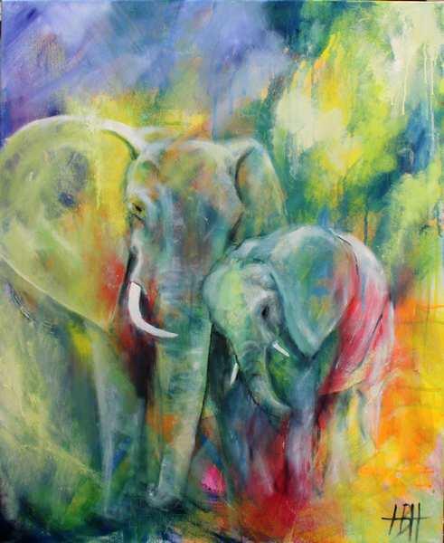 Elefant maleri af elefant og unge
