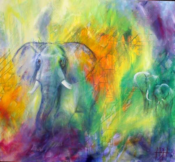 Farverige malerier af elefanter og unger