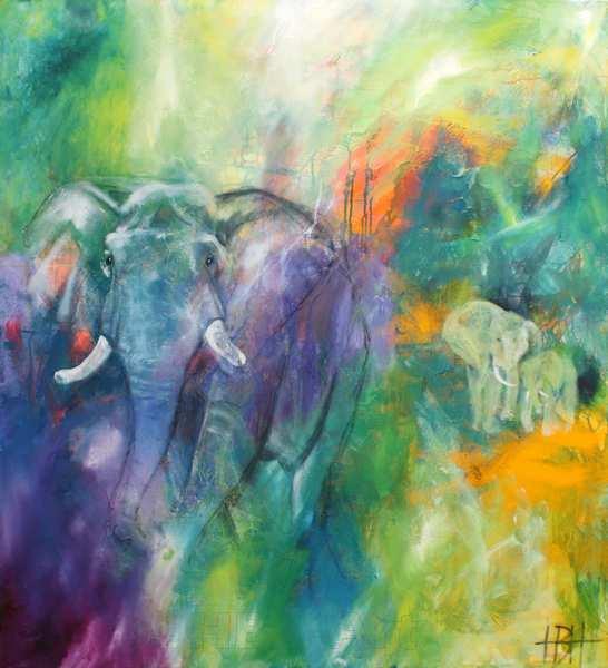 Farverigt oliemaleri af elefanter