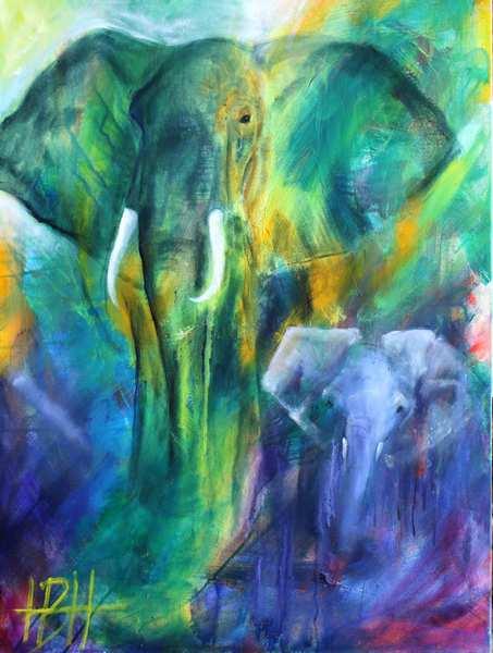malerier af elefanter med unge i blå og grønne farver