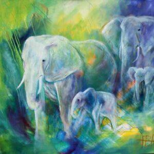 oliemaleri af to elefanter med unger. Blå og grønne farver