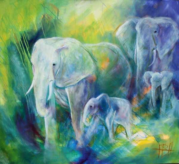 malerier af vilde dyr - elefanter med unger. Blå og grønne farver