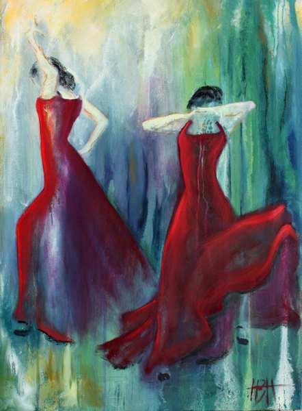 maleri af røde damer på blålig baggrund