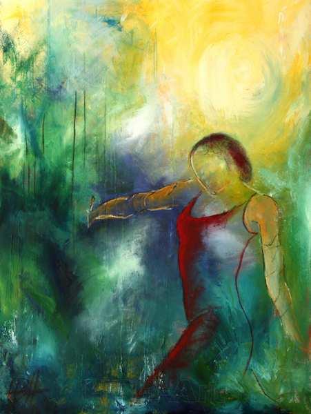 dansemaleri af flamencodanser med skoven og solen i baggrunden