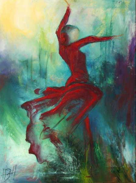 oliemalerier af dansende kvinde med svingende skørt