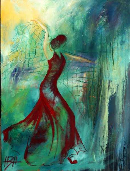 maleri af danserinde med sjal. Hun danser i skoven