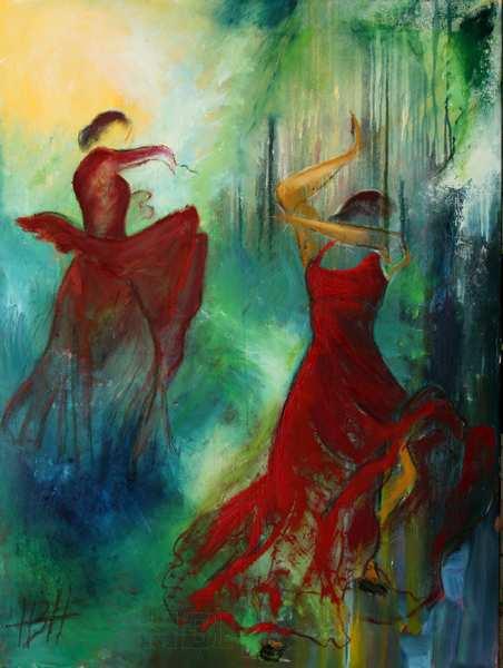 oliemaleri af dansere foran en skov