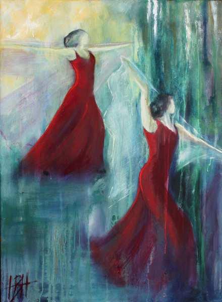 maleri af kvinder i mørkerøde kjoler med sjal på blålig baggrund