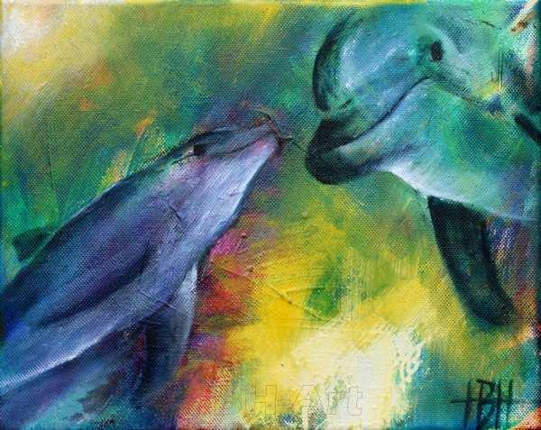 Under vandet - maleri af delfiner