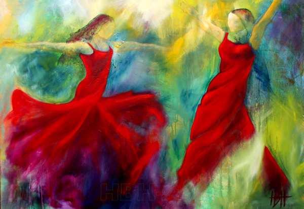 dansemaleri af to flamencodansere i røde kjoler på farverig baggrund