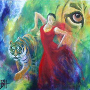 Maleri af danser og tiger og et tigerøje lige bag kvinden