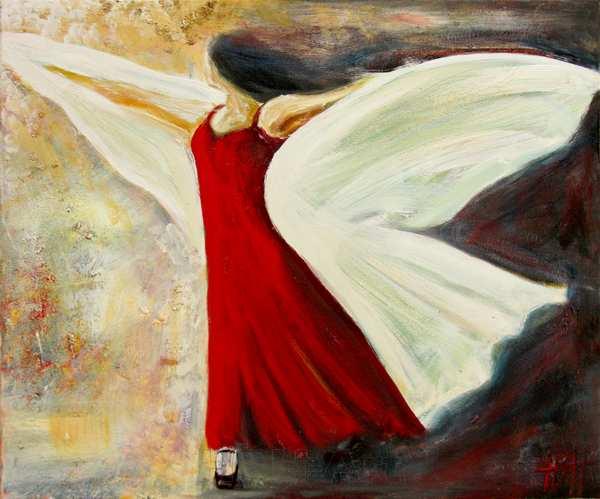 maleri af flamencodanser, der breder sit sjal ud som et par vinger