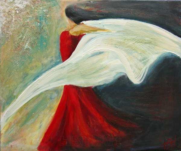 flamenco maleri af danser med sjal og bevægelse