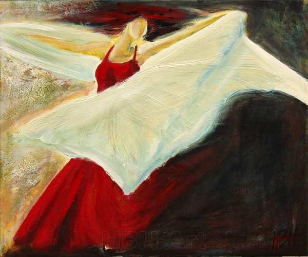maleri af flamencodanser med sjal i bevægelse