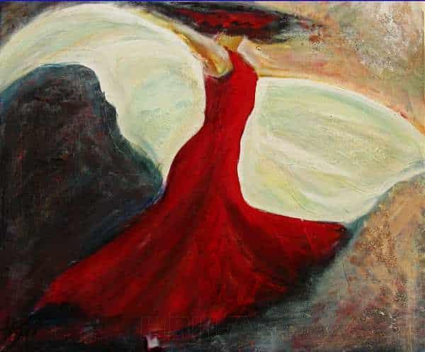 Maleri af flamencodanser med sjal midt i en vuelta