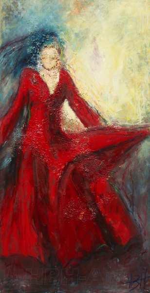 maleri af flamenco kvinde i rød kjole