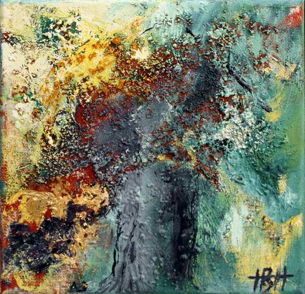 Abstrakt maleri af træ med blå stamme og masser af farver i kronen