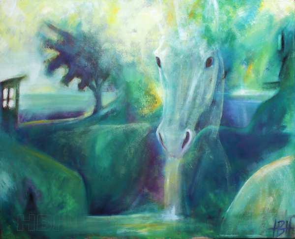 Maleri af enhjørning i blå og grønne farver