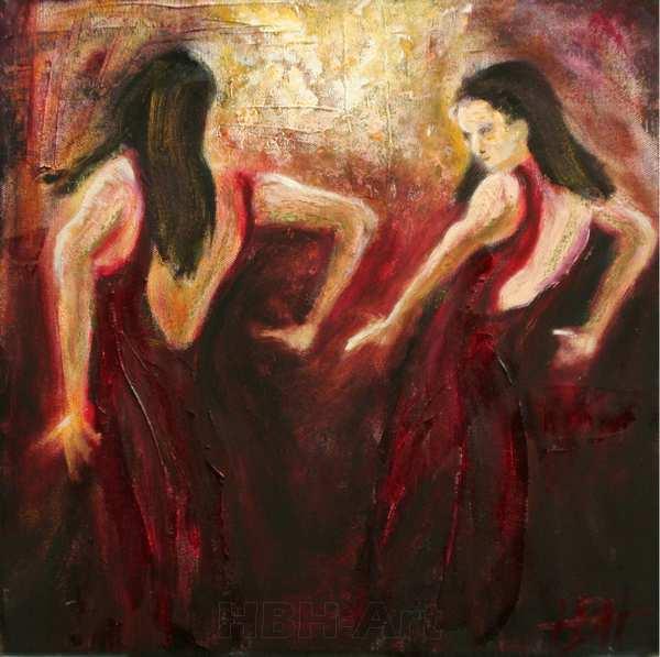 lille maleri af flamencodansere. Hun danser med sit spejlbillede