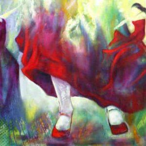 olie maleri af dansende flamencofødder. To flamencodansere ved siden af