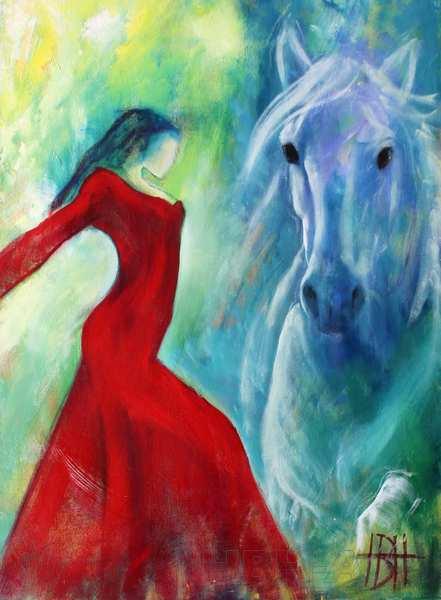 Maleri af dansende kvinde og hest