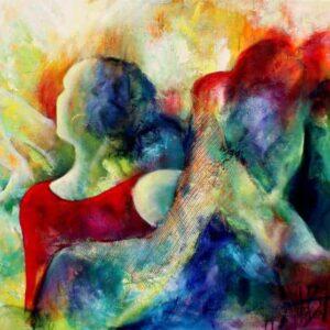 Oliemaleri af flamencodanser med brusende skørt i mange farver. Indlagt guldnet som stoflig virkning